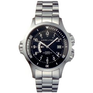 The Hamilton Khaki Navy - GMT Steel Black Mens Watch H77615133
